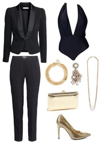 jacket suits for women black tailored suit tailored collar blazer slim fit pants suit body suit top classy office outfits