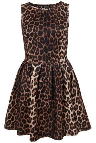 Topshop Womens Animal Leopard Print Skater Dress / Browns / Size UK 8   eBay