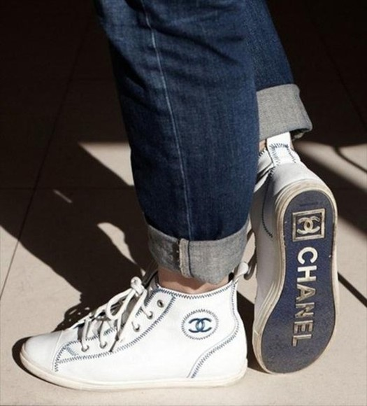 shoes white cute high top sneaker sneakers chanel swag