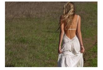 dress white dress open back backless boho dress