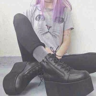 shoes black wedges platform shoes flatforms leather goth 90s style grunge retro cute cool tumblr teenagers girl summer spring fall outfits winter outfits hardcore top