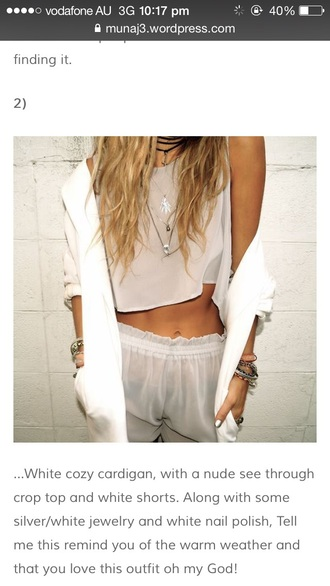 blouse white see thru short white crop tops white see thru top shorts sheer baggy beach indie elastic