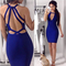 Strappy back cut out midi bandage dress blue