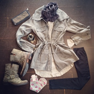 coat anorak jacket ankle boots scarf bracelets lace shirts jacket shirt jeans shoes