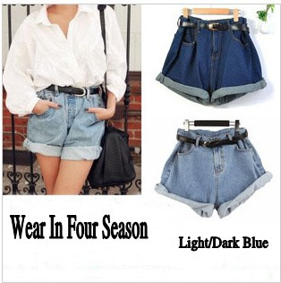 (XS XL) Freeshipping All Season Wear Big Denim Shorts 2014 Turn Up High Waist Shorts Super Loose Plus Large Jean Shorts #2005-in Shorts from Apparel & Accessories on Aliexpress.com