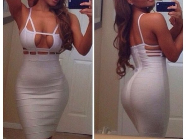 dress white dress bandage dress