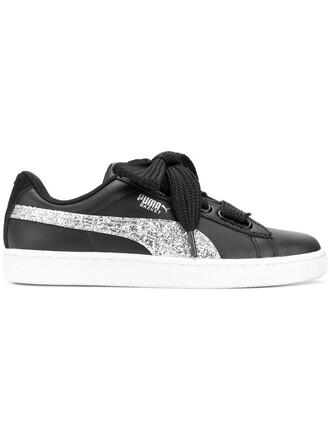 heart glitter women sneakers leather black shoes