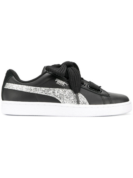 puma heart glitter women sneakers leather black shoes