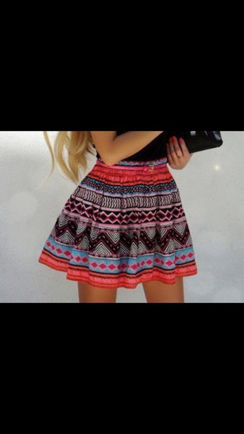 skirt aztec tribal print skirt tribal pattern