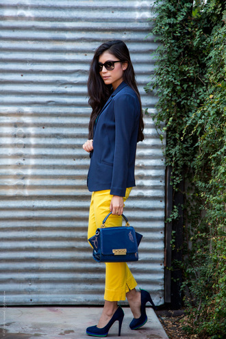 pants yellow pants pumps blazer blue blazer bag blue bag blue pumps sunglasses black sunglasses spring outfits office outfits preppy