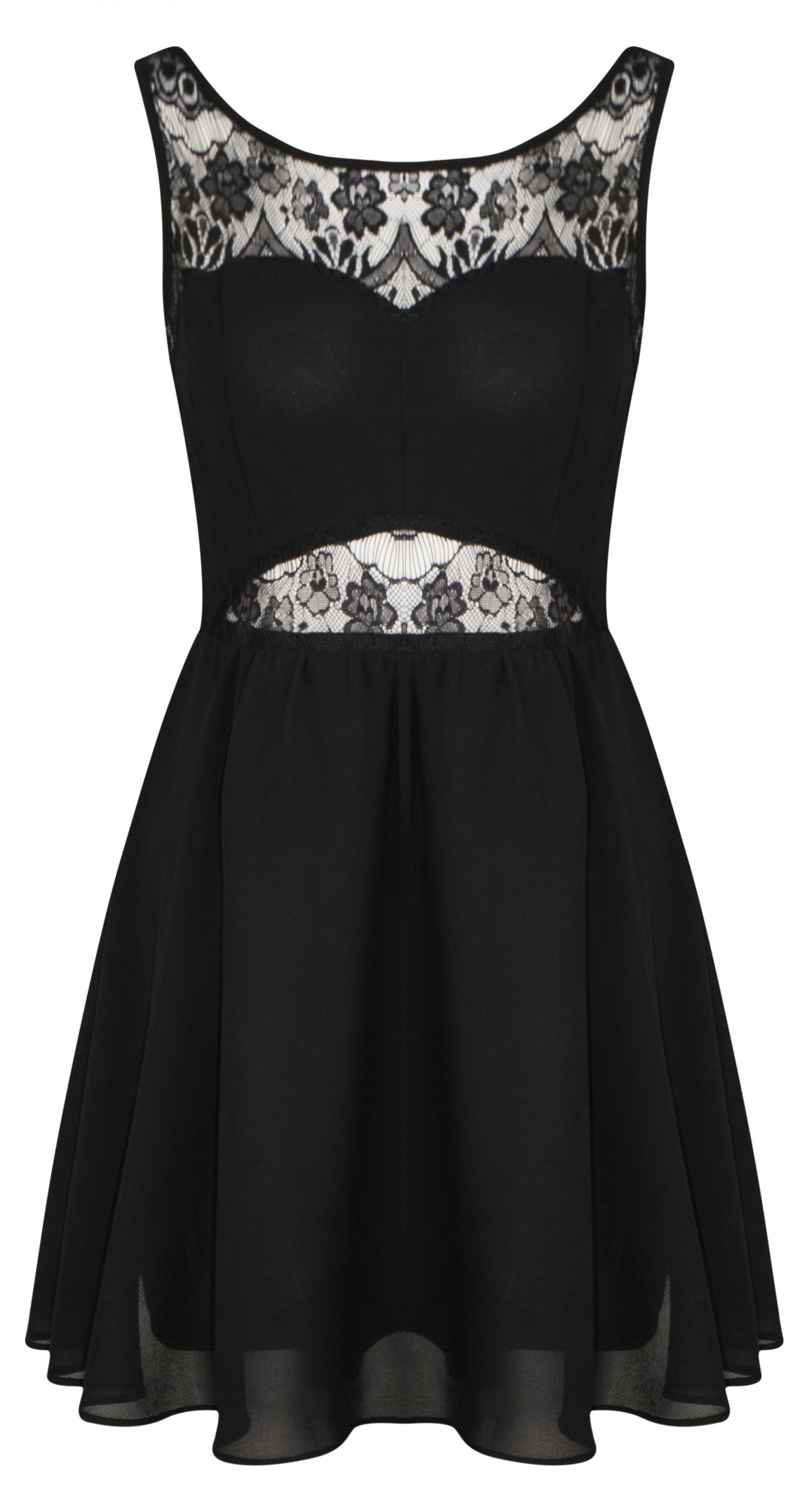 Black Open Back Chiffon Lace Skater Dress | Shelikes