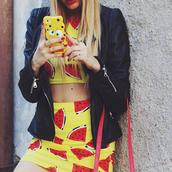 jewels,top,skirt,mini skirt,streetstyle,stylemoi,swag,ring,two-piece,watermelon print