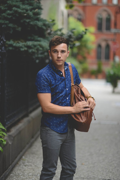 jeans shoes summer outfits hipster scout sixteen blue shirt menswear blogger dotted shirt dots white dots grey jeans grey backpack leather backpack preppy skinny jeans gap gap shirt coach coach backpack cute boyfriend leather summer shirt mens shoes mens shirt mens pants mens bags white shoes