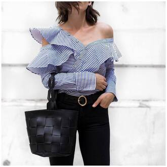 shirt tumblr asymmetric shirt asymmetrical stripes striped shirt bag black bag
