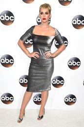 dress,metallic,midi dress,katy perry,sandals,silver,silver dress