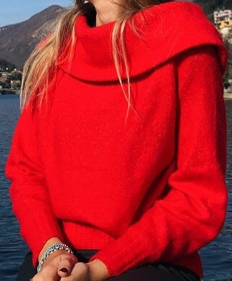 sweater red neck boat neck red sweater winter outfits fall outfits boat neckline sweater