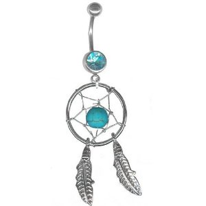Amazon.com: *Turquoise Dream Catcher Navel Ring Belly Rings Body Jewelry-14g 1/2 inch long-Gifts for Women: Body Piercing Barbells: Jewelry