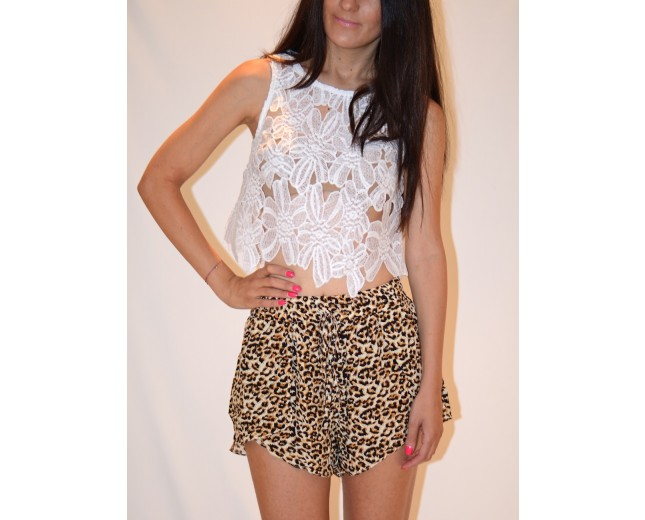 Crochet Petal Top - White - New Arrivals