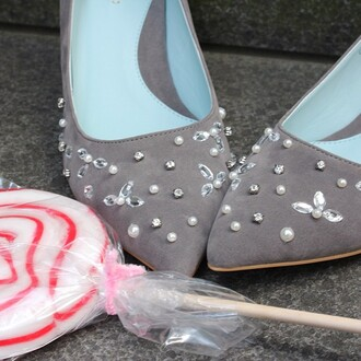 shoes high heels grey blue candy bijoux details stones pearl