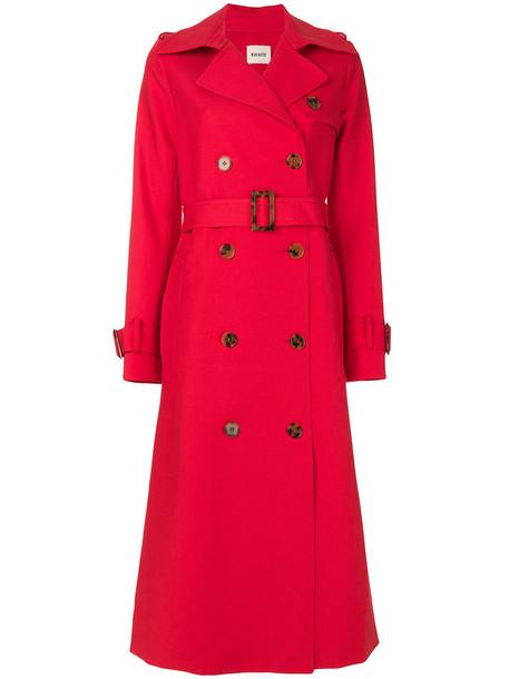 coat trench coat women cotton silk red