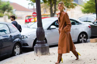 coat leather coat fashion week street style fashion week 2016 fashion week paris fashion week 2016 brown coat long coat boots brown boots high heels boots streetstyle winter outfits winter look camel long coat