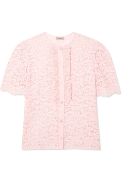Temperley London top lace top lace cotton pink