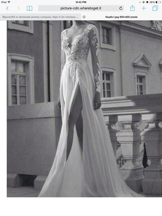 dress prom dress white dress lace dress long sleeves wedding dress