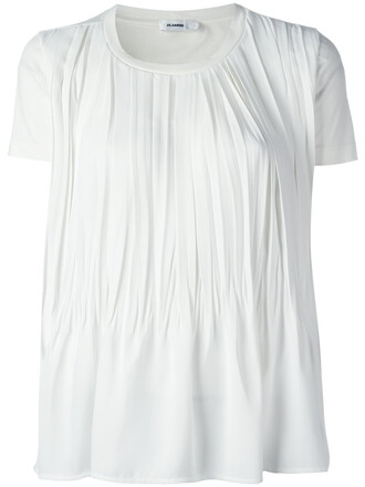 t-shirt shirt women draped white cotton top