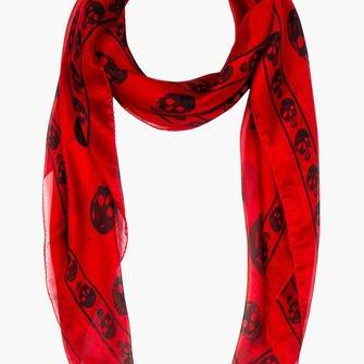 red scarf black skull fo menswear scarf red