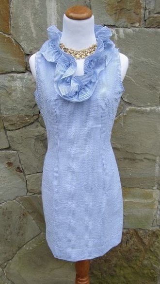 dress seersucker ruffle preppy dress sleeveless