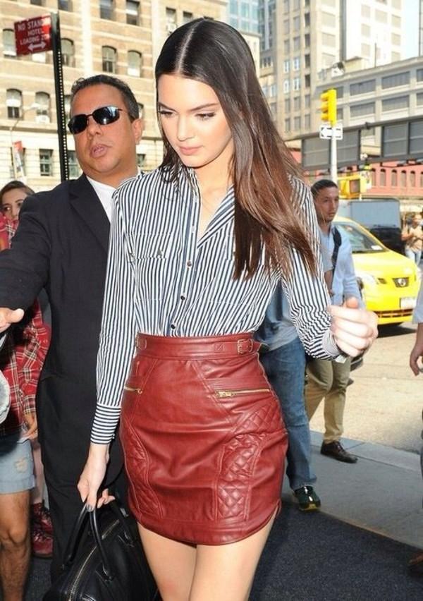 leather skirt read skirt shirt