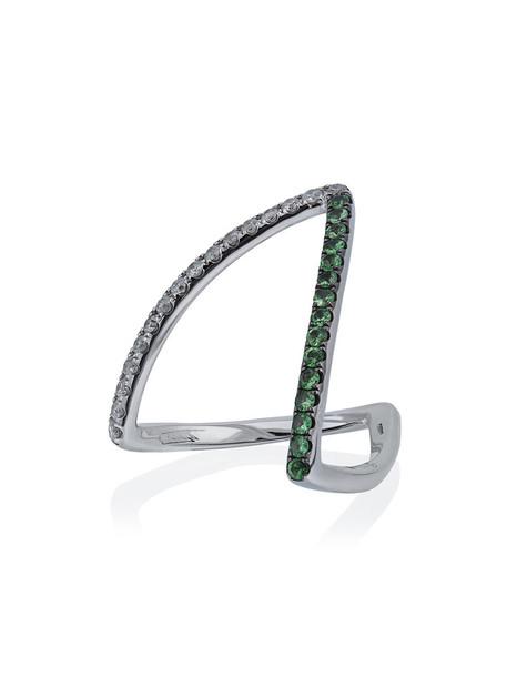 Yvonne Léon diamond ring women ring gold grey metallic jewels
