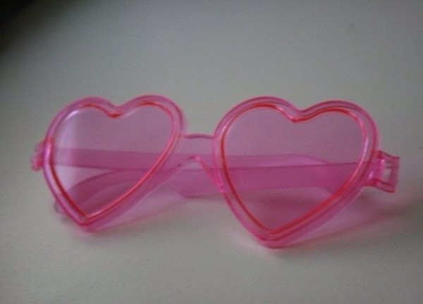 sunglasses pink heart plastic
