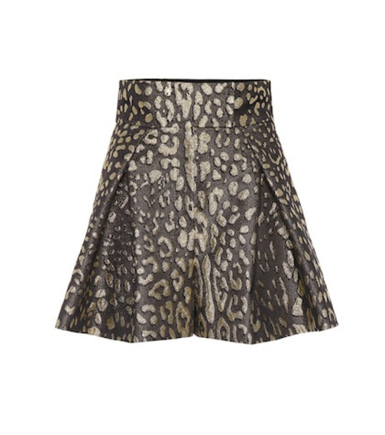 Dolce & Gabbana High-rise brocade shorts in metallic