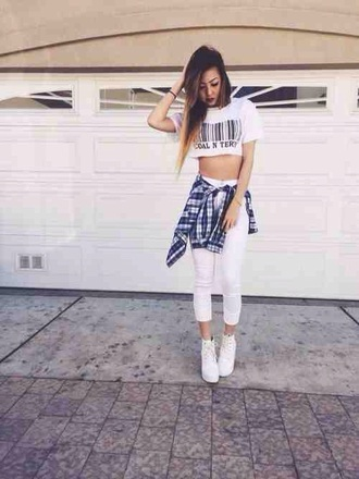 t-shirt tank top crop top white bar code shop store shopping cute teenagers tumblr girl check plaid shirt flannel sun sunny summer spring beach party casual shoes
