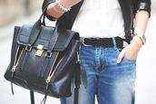 bag,satchel bag,pashli,black,leather,zip