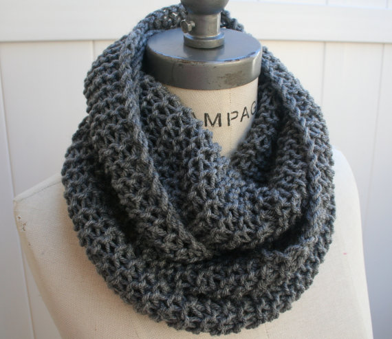 Chain Scarf Grey Knit Infinity Scarf Most Popular Item by PIYOYO