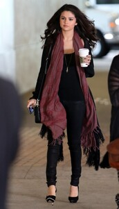 shoes,selena gomez,jeans,top,cardigan,scarf,jewels