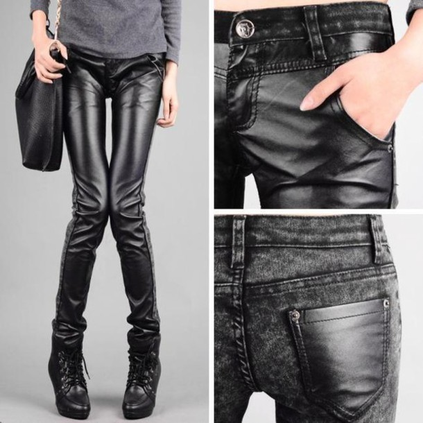 4ce1a113486 jeans alternative emo scene punk rock goth goth leather leather look grunge  pants pants