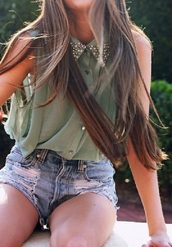 blouse,beaded blouse,shorts,denim,cool studs,shirt,short sleeved shirt,clothes,green blouse,green,army green,denim shorts,button up blouse,studs,pretty,hipster,indie,tumblr,fashion,top,olive green,crop tops,sleeveless army green  shirt with studded collar
