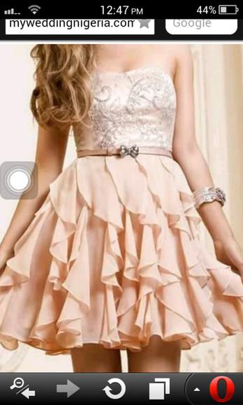 ruffles cute dress beige peach color sparkly no sleeves