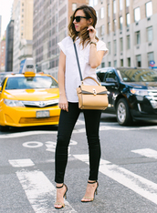 sydne summer's fashion reviews & style tips,blogger,jewels,sunglasses,shoes,white top,shoulder bag,yellow bag,black jeans,black pants,cropped pants,sandals,black sandals,work outfits,sandal heels,high heel sandals,cat eye,black sunglasses,white shirt,shirt,printed sandals