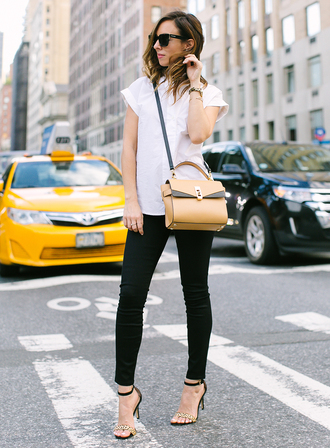 sydne summer's fashion reviews & style tips blogger jewels sunglasses shoes white top shoulder bag yellow bag black jeans black pants cropped pants sandals black sandals work outfits sandal heels high heel sandals cat eye black sunglasses white shirt shirt printed sandals