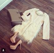 coat,fur,faux fur coat,white,winter coat,elegant,skirt,blouse,shoes,faux fur jacket,dress,little white dress,faux fur,fashion,beige,furry skirt,classy,stylish,outfit,classy outfit,bag,jacket,jewels,shirt