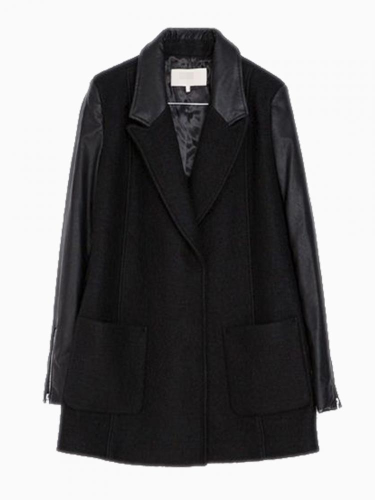 Luxurious Woolen Coat With Leather Sleeves | Choies