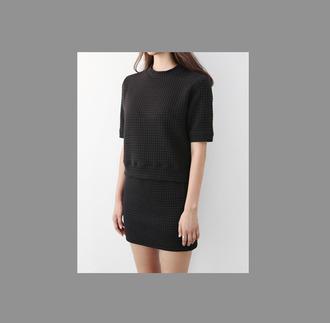 skirt top black tumblr mini minimalist
