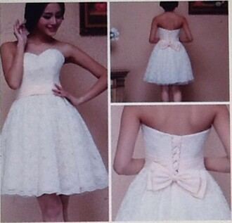 dress short white dress sweetheart neckline pink bow lace dress corset dress