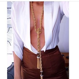 blouse jewels skirt tassel necklace plunge neckline plunge v neck deep v neck classy