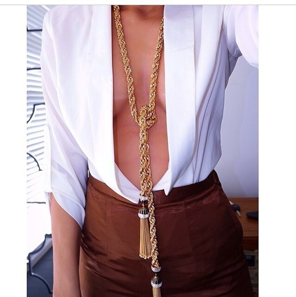 blouse classy deep v neck top plunge neckline plunge v neck dressy jewels skirt necklace pencil burnt umber brown