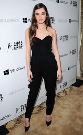 jumpsuit,top,all black everything,hailee steinfeld,pants,bustier,strapless